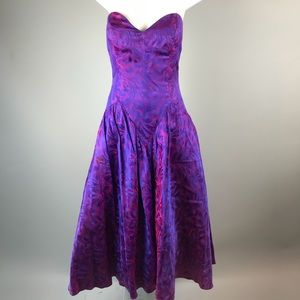 80s Strapless Prom Gown Dress Purple Floral Shiny